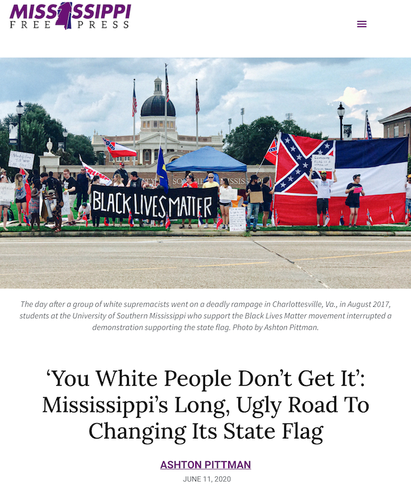 """Screenshot of """"You White People Don't Get It: Mississippi's Long, Ugly Road to Changing Its State Flag"""" in the Mississippi Free Press"""